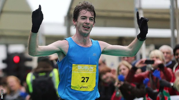 Paul Pollock crosses the line at last year's Dublin Marathon