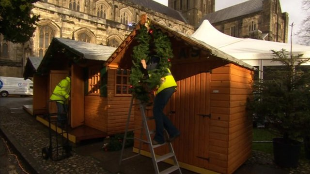 Christmas market preparations in Winchester