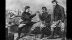 Union soldiers break a bone after the Thanksgiving meal, both hoping for peace, circa 1862