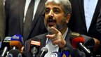 Hamas leader in exile Khaled Meshaal speaks in Cairo. 21 Nov 2012