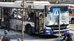 Israeli police survey the bus in Tel Aviv. Photo: 21 November 2012