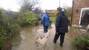 Flooding outside a home in Haresfield, Gloucestershire