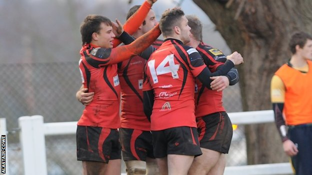 Redruth celebrate a try against Henley last season