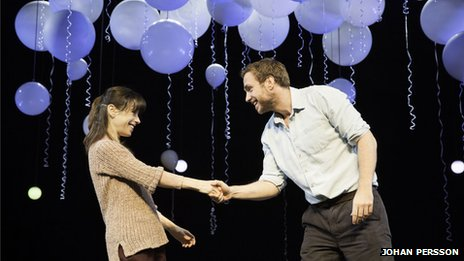 Sally Hawkins as Marianne and Rafe Spall as Roland in Constellations