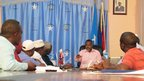 The mayor chairs a meeting at Mogadishu's new Chamber of Commerce