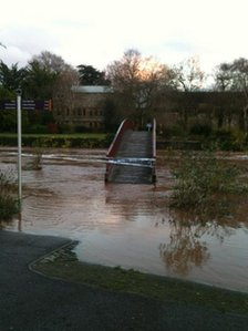 Flooded area behind the castle in Taunton