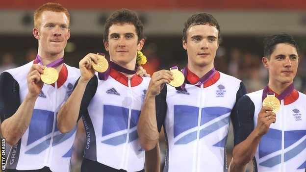 Geraint Thomas (second from left) with fellow Great Britain team pursuit Olympic gold medal winners Edward Clancy, Steven Burke and Peter Kennaugh