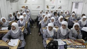 Girls in a UN school