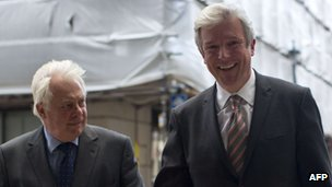 Chris Patten and Lord Hall arriving at BBC