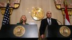 US Secretary of State Hillary Clinton and Egyptian Foreign Minister Kamel Amr