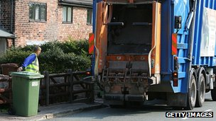 Bins being collected from a street in Cheshire