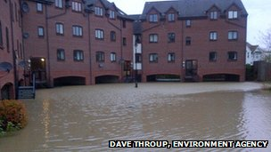 Flooded riverside properties in Evesham