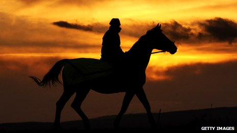 Silhouette of a person on horseback at sunset