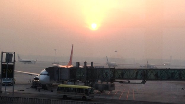 A smoggy Beijing Airport