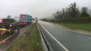 The A55 is flooded between Bangor and Abergwyngregyn