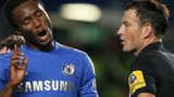 Chelsea's Jon Mikel Obi(l) complains to referee Mark Clattenburg
