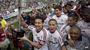 Fluminense celebrate winning the Brazilian league