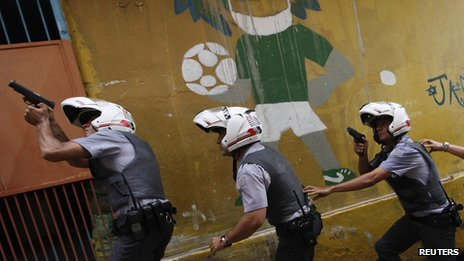 Policemen carrying out an operation in a slum in Sao Paulo
