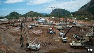 The construction site of the future Olympic village for the Rio 2016 Olympic games in Barra de Tijuca, Rio de Janeiro