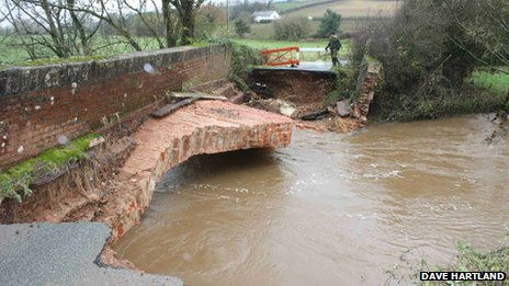 Collapsed bridge near Bradninch. Pic: Dave Hartland