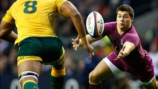 Ben Youngs knocks on as Australia's Wycliff Palu looms