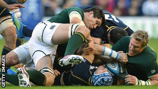 Francois Louw and Jean de Villiers in action against Scotland