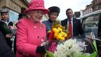 The Queen was presented with flowers outside Bristol Old Vic theatre