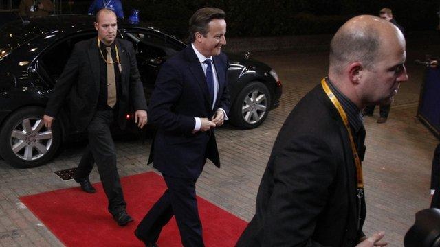 David Cameron arrives at the EU council headquarters