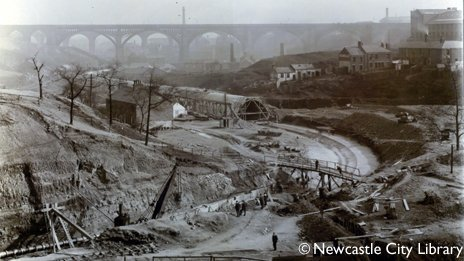 Construction of the Ouseburn culvert in 1907