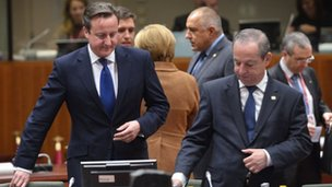 UK Prime Minister David Cameron (L) and Maltese Prime Minister Lawrence Gonzi the EU Headquarters on November.
