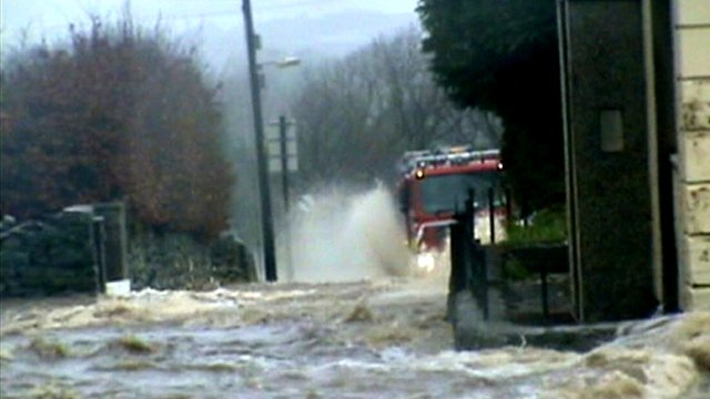 North Wales road becomes a river