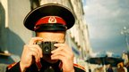 Russian soldier shooting with Lomo
