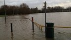 Noel Enticott flooded rugby pitch in Warwickshire
