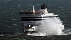 P&O's Spirit of Britain is buffeted by winds as it nears Dover, Kent