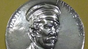 This silver medal was cast in 1873 to commemorate the death of Livingstone in Zambia.