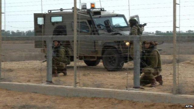 Israeli soldiers at scene of shooting