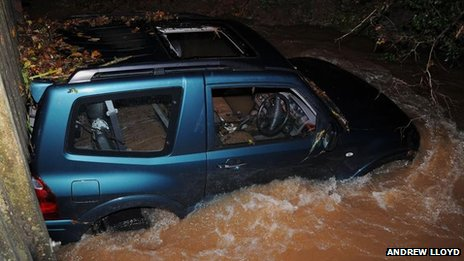 Car in flood water in Chew Stoke