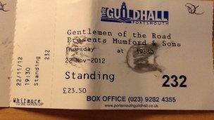 Fake Mumford & Sons gig ticket