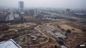 Construction works in Gurgaon which is  some 30 km south of New Delhi.
