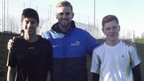 Faisal and Ben with Mr Keens, PE teacher and head of year 11