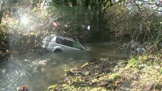 Car stuck in river at St Clears