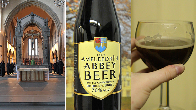 Ampleforth Abbey, beer and glass of beer