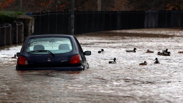Car and ducks in floodwater in Evesham, Worcestershire