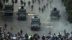 Riot police try to disperse protesters in Tahrir Square, Cairo, on 23/11/12