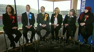 From left to right: Sarah Champion, Simon Wilson, Michael Beckett, Jane Collins, Marlene Guest and Yvonne Ridley
