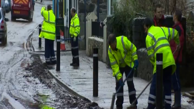 Workmen clearing at Llanberis