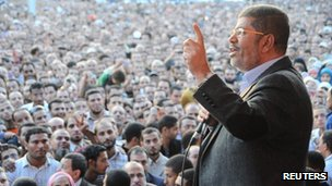 President Mursi addresses supporters in Cairo (23 Nov 2012)