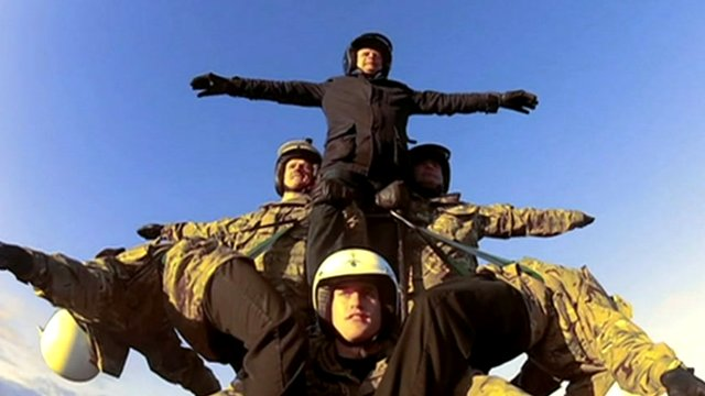 The BBC's Mike Bushell joins the Army's White Helmets display team