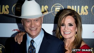 Larry Hagman and Linda Gray attend the Channel 5 Dallas Launch Party at Old Billingsgate Market on August 21, 2012 in London, England.
