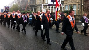 Orange Order marching through Harrogate